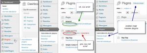 Plugin in je dashboard menu | geactiveerde en gedeactiveerde plugins | zoeken naar plugins