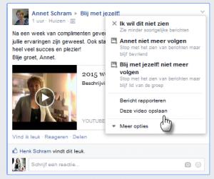 Bericht bewaren op Facebook, klik op het pijltje naast het bericht